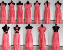 wedding photo - Twist Wrap Coral Bridesmaid Dress/Variations Styles Long Bridesmaid Dress/ Formal Party Dress/ Floor Length Prom Dress/Celebrity Gown