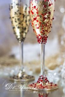 wedding photo - Black, Red, Gold Wedding Champagne Glasses for Bride and Groom, Modern, Lace,personalized glasses,Gatsby Style, 2pcs ,G1/4/11-0004