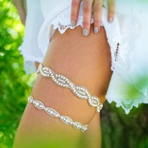 wedding photo - Wedding Garter,Silver Crystal Wedding Garter, Crystal Rhinestone Bridal Garter, Crystal Garter Set, Glam Garter, Silver Garter, Garter Set