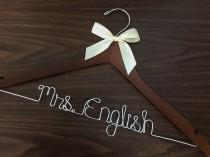 wedding photo - Ships in 1-3 days, Wedding hanger, ships Priority mail in US, wedding photos, bridal, Wire hanger with ribbon, name hanger, bridal hanger,