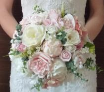 wedding photo - Bespoke Vintage Pastel Blush Dusky pink and ivory rose and peony wedding bridal bouquet country style