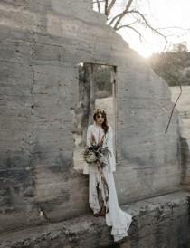 wedding photo - Moody And Dark Elopement Among The Castlewood Ruins - Weddingomania