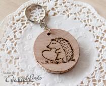 wedding photo - Wooden Charms, wine charm,  Hedgehog Wooden Keychain