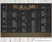 wedding photo - Wedding Seating Chart - RUSH SERVICE - Vintage Art Deco Great Gatsby Wedding Seating Chart Reception Poster - Digital Printable File HBC149