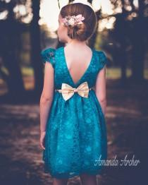 wedding photo - Teal, Turquoise Lace Dress for Toddler and Girl, Special Occasion, Birthday and Flower Girl