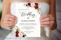 wedding photo - Floral Wedding Invitation Template, Printable Wedding Invites, Burgundy Rose, Rustic Boho Chic, Winter Wedding Invite Set, DIY PDF