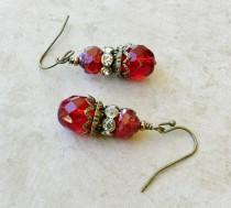 wedding photo - Red Earrings, Ruby Earrings, Victorian Earrings, Ruby Red Earrings, Bridal Earrings, Red Wedding Jewelry, Czech Glass Beads, Gifts for Her