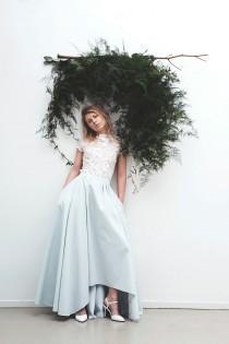wedding photo - Wedding skirt with pockets / Blue silk wedding skirt / modern bridal separates / low-rise hem / colour, customisation options