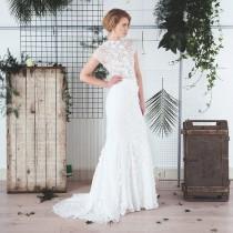 wedding photo - Lace mermaid wedding skirt with godets & train / 3D flower lace wedding skirt / Rasbery Pavlova bridal separates / modern bridal style