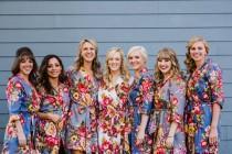 wedding photo - Bridesmaid Robes, Bridesmaid Gift, Floral Robe, Bridesmaid Robe, Wedding Robe, Kimono Robe, Gift for Bridesmaid