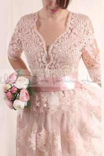 wedding photo - Plus Size Lace short/ blush pink wedding party / lace dress with sleeves Bridal Gown