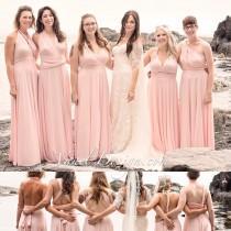 wedding photo - Bridesmaid Dress, One Dress Endless Styles INFINITY Blush Bridesmaids Dress Custom Designed CONVERTIBLE Bridesmaids Dress Long Blush