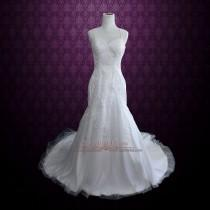 wedding photo - Lace Fit and Flare Wedding Dress with Beautiful Lace Covered Back