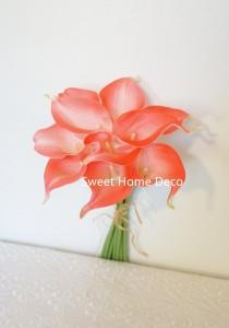 "wedding photo - JennysFlowerShop 15"" Latex Real Touch Artificial Calla Lily 10 Stems Flower Bouquet for Wedding/ Home Coral"