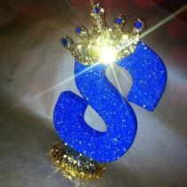 wedding photo - Sparkle letters with crown.  Royal themed decoration for party decorations, photo props, baby showers, table numbers, princess and prince