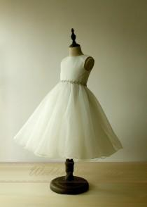 wedding photo - A Line Princess Flower Girl Dress Ruching Bodice High Neck with Crystals Waistband