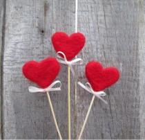 wedding photo - Red Hearts Felted Hearts on sticks Rustic Heart Cake Topper Red sweetheart Rustic Nature inspired  Autumn Home Decor Fairy folk Gift idea