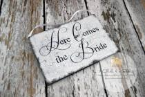 wedding photo - Here Comes The Bride Sign, Photo Props, Chair Signs, Vintage Style Wedding Signs