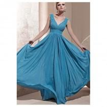 wedding photo - In Stock Modern A-line V-neck Tank Strap Empire Waist Floor Length Beaded Party Gown - overpinks.com