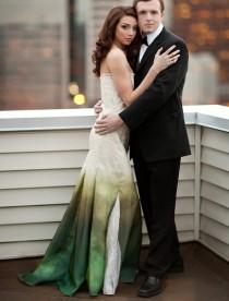 wedding photo - Beach Wedding Dress,  Wedding Dress, Silk Wedding Dress, Green Wedding Dress, Eco Wedding Dress, Ombre Wedding Dress, Gradient Wedding Dress