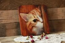 wedding photo - Red cat, art panels, wooden, on the wall, animals, cat