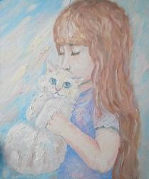 wedding photo - Oil Pastel Painting Girl Child Room decor for Nursery Cat Kitty Pet Portrait Impasto Still Life Expressionism gift for her Bliss artwork set