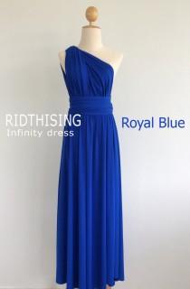 wedding photo - Maxi Royal Blue Bridesmaid Dress infinity Dress Prom Dress Convertible Dress Wrap Dress