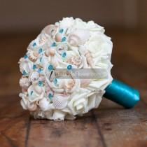 wedding photo - Turquoise seashell bouquet, malibu beach wedding bouquet, roses and shells bridal bouquet with pins, cruise beach and destination wedding