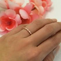 wedding photo - Art Deco Full Eternity Ring, Marquise Wedding Band, Delicate Engagement Ring, Man Made Diamond Simulant, Sterling Silver, Rose Gold Plated