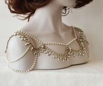 wedding photo - Wedding Gold Rhinestone Jewelry, Wedding Dress Shoulder, Wedding Dress Accessory, Bridal Epaulettes, Wedding  Accessory, Bridal Accessory