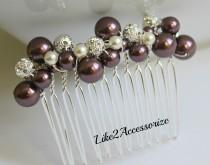 wedding photo - Burgundy Maroon Hair Comb Bridal Headpiece Wedding Hair Accessories Pearl Comb Bridesmaid Hairpiece Bridal Falls Wedding Vintage Hair Comb