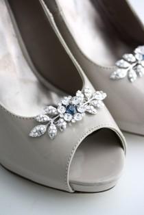 wedding photo - Shoe clips Wedding Shoe Clips Crystal Shoe Clips Custom Color Something Blue Bridal Shoe Clips Leaf Shoe Clips Custom Shoe Clips MACY