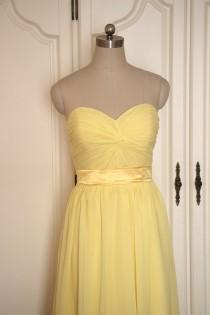 wedding photo - Yellow Sweetheart Bridesmaid Dress Short/Floor Length Chiffon Yellow Strapless Bridesmaid Dress - Custom Dress