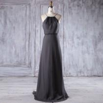 wedding photo - 2016 Charcoal Gray Chiffon Bridesmaid Dress Long, Spaghetti Straps Wedding Dress, A Line Prom Dress, Backless Maxi Dress Floor Length (L255)