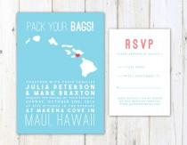 wedding photo - Hawaii Wedding Invitation, Destination Wedding Invitation, Hawaiian Islands Map Wedding Invitation