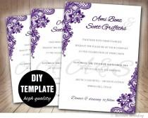 wedding photo - Lace Purple Wedding Invitation DIY,Aubergine Wedding Invitation Template,Elegant Invitation Wedding Template,Purple Wedding Invite