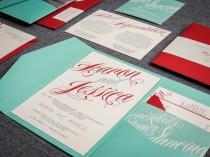 "wedding photo - Aqua and Red Invitations, Modern Invites, Pocketfold Invitation, Turquoise and Red - ""Sweeping Script"" Pocketfold, No Layers, v3 - SAMPLE"