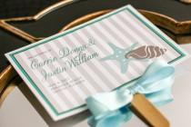 "wedding photo - Wedding Programs, Fan Programs, Ceremony, Beach or Destination Wedding, Aqua, Ivory and Taupe - ""Starfish and Shell"" Fan Program - DEPOSIT"
