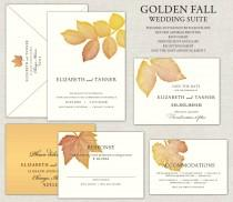 wedding photo - Gold Fall Leaves Wedding Invitation, Golden Wedding Invite, Rustic, Linen Invitations, Save the Dates, Oak, Ash, Maple, Birch, Autumn