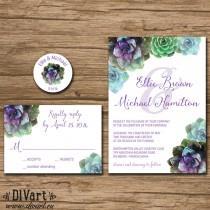 wedding photo - Succulent Wedding Invitation Suite, Response Card, Monogram - PRINTABLE files - garden wedding, rustic wedding, watercolor succulent - Ellie