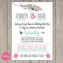 wedding photo - Destination Wedding Invitation - Travel Theme - Beach - Island - Tropical - Printable