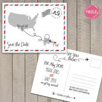 wedding photo - Destination Wedding Save the Date Postcard - Travel Theme - Custom - Printable - DIY