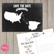 wedding photo - Destination Wedding Save the Date Postcard - Travel Theme - Chalkboard - Custom - Printable