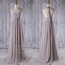 wedding photo - 2016 Gray Chiffon Bridesmaid Dress, Bodice Wedding Dress, Halter Prom Dress, A Line Evening Gown, Long Formal Full Length (J190)