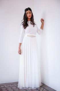 wedding photo - Long sleeve tulle wedding dress, ivory tulle wedding dress, bridal gown, tulle gown, long wedding dress with sleeves, boho wedding dress
