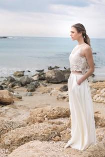 wedding photo - Elegant and  2 Piece wedding dress, Halter Lace crop top and full circle mat satin skirt with pockets, boho wedding dress, open back