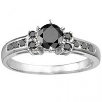 wedding photo - Traditional .35ctw Prong and Channel Set Black Diamonds w/a .25 Round Center Sterling Silver Promise Engagement Anniversary Ring