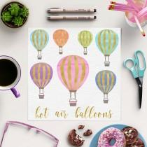 wedding photo - Hot Air Balloon Clipart, Gold And Watercolor Balloons, For Birthday, Wedding, Invites, Instant Download, Coupon Code: BUY5FOR8