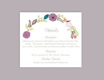 wedding photo - DIY Wedding Details Card Template Editable Word File Download Printable Details Card Floral Purple Details Card Elegant Enclosure Cards