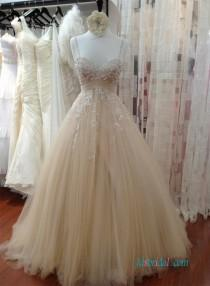 wedding photo - Champagne Beading thin straps tulle ball gown wedding dress